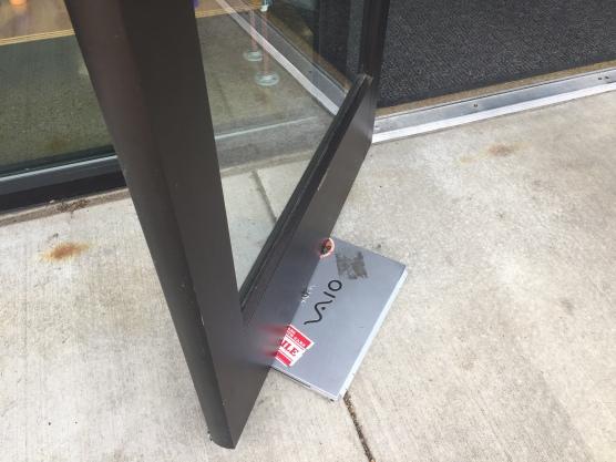 laptop in door