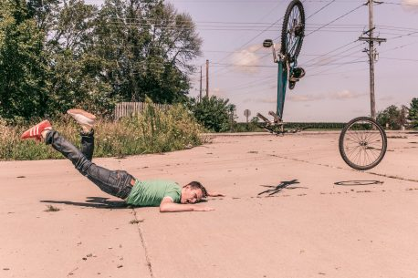 falling off bicycle stretch yourself