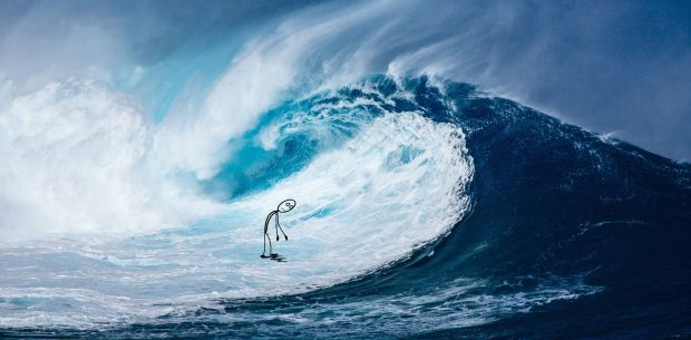 wave and stick figure