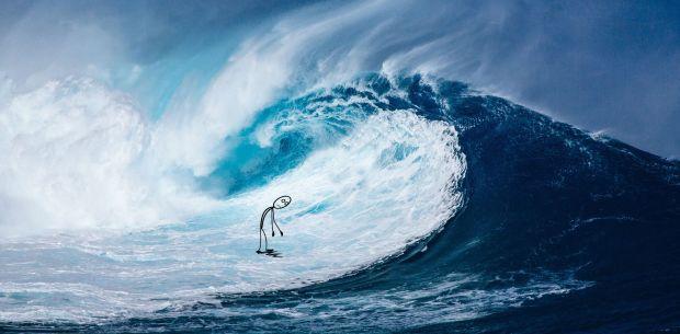 wave and stick figure