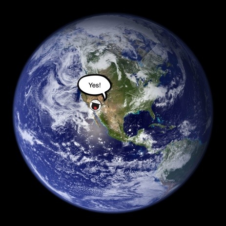 earth and guy celebrating