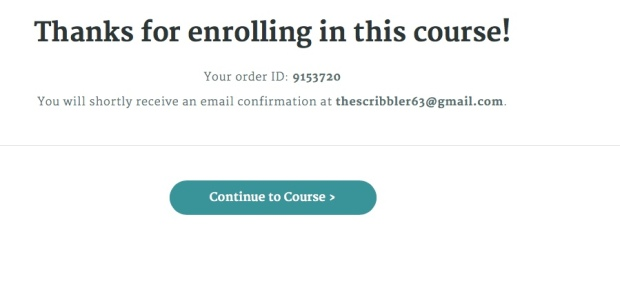 Thanks for enrolling in this course screen shot