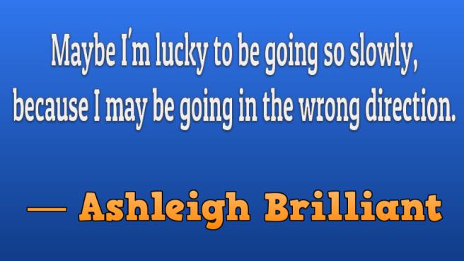 Ashleigh Brilliant slide going slowly