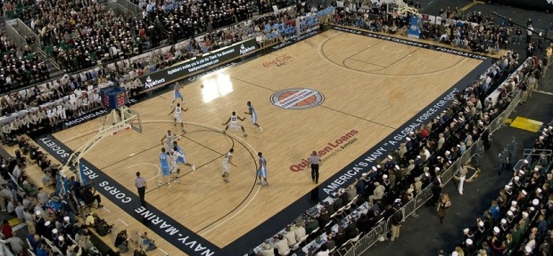 aerial view of a college basketball game being played