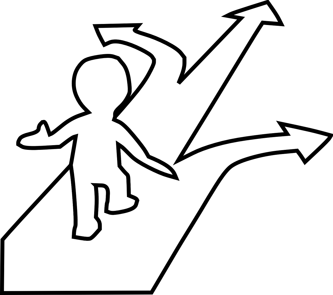 outline of person with a choice to follow one of three arrows/directions