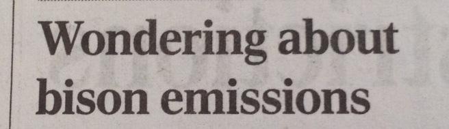 Headline: Wondering about bison emissions