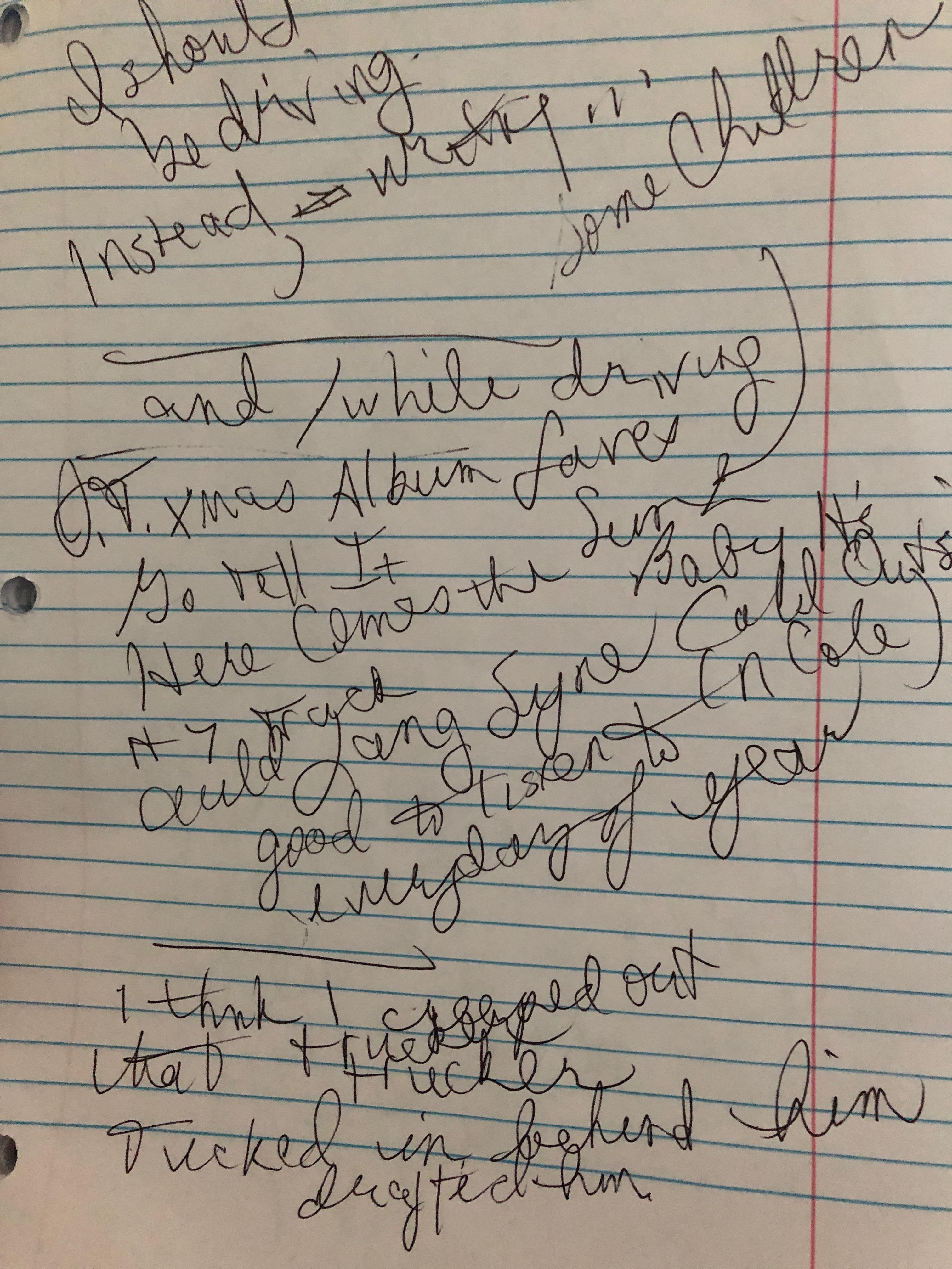 handwritten notes on a piece of binder paper