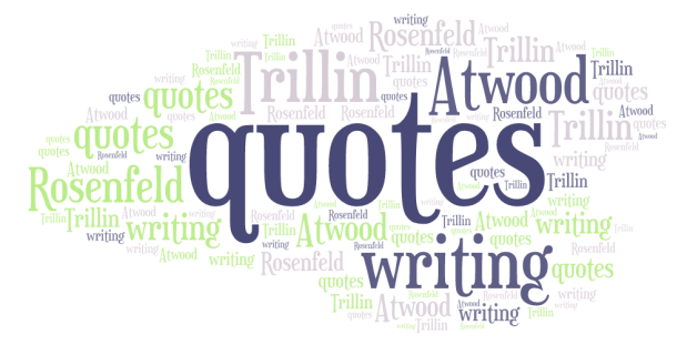 word cloud with keywords quotes, writing Atwood Trillin Rosenfeld