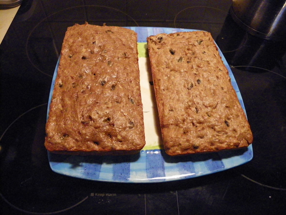 two banana breads side-by-side
