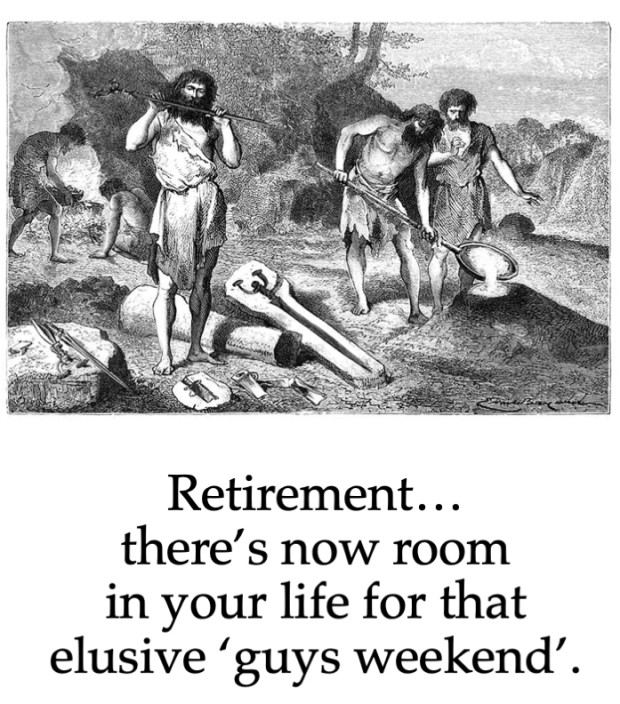 cavemen attending to daily chores