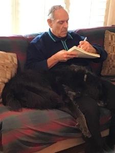 black dog on lap while writing